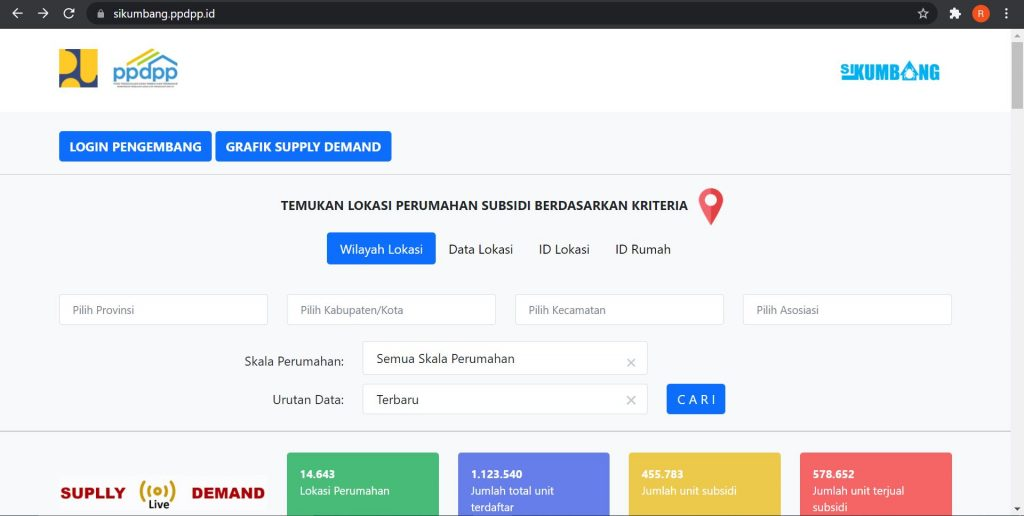 rikiasp.id tampilan sikumbang cek rumah subsidi online